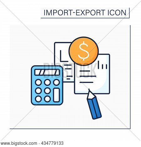 Pro Forma Invoice Color Icon.preliminary Bill Of Sale.document Describes Purchased Items, Shipping,