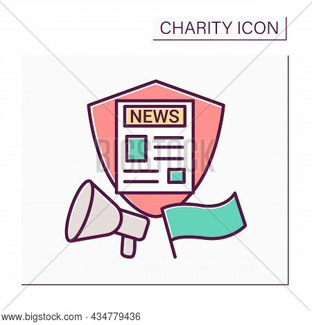 Public Broadcasting Of Social Problems Color Icon. Search For Patrons And Volunteers. Charitable Eve
