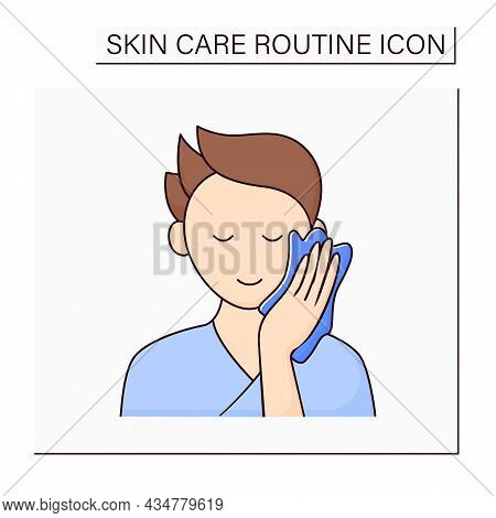 Beauty Procedure Color Icon. Man Wipe Face By Special Wiping Cloth. Cosmetology. Skin Care Routine C