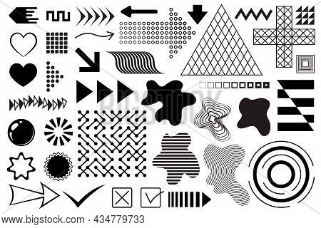 Vector Abstract Design Elements. Memphis Shapes, Abstract Forms, Figures, Geometric Design Elements.