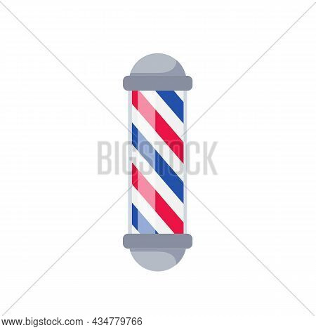 Barber Pole Isolated On White Background. Barbershop Concept. Vector Stock