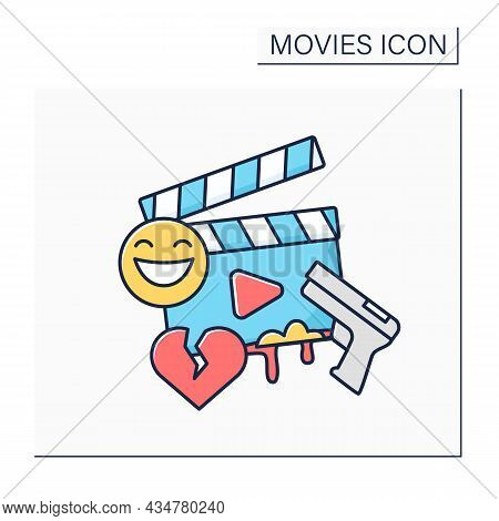 Genre Color Icon. Categories Define Movie Based On Narrative Elements. Unique In Types Of Stories Th