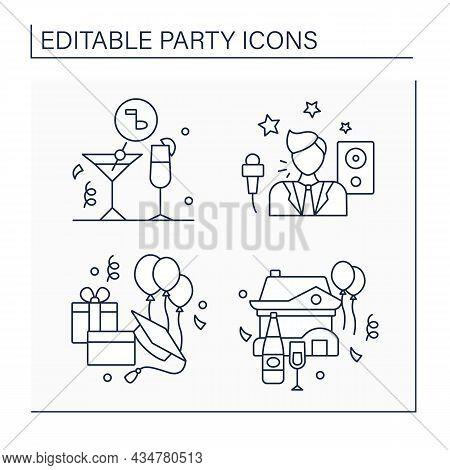 Parties Line Icons Set. Cocktail And Graduation Parties, Housewarming. Entertainer. Celebration Of S