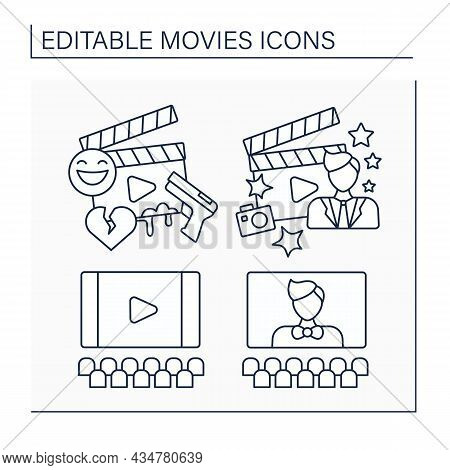 Movies Line Icons Set. Screen, Character, Film Genre, Movie Star. Entertainment Concept. Isolated Ve
