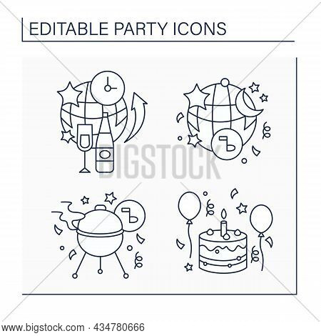 Parties Line Icons Set. All-night, After Party, Barbecue And Birthday Celebration. Celebration Of Sp