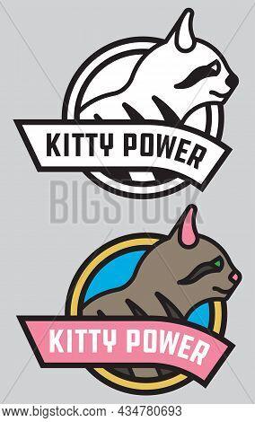 Kitty Power Cat Or Kitten Vector Badge Or Logo. Cute Vector Illustration Of Stylized, Bold Outline C