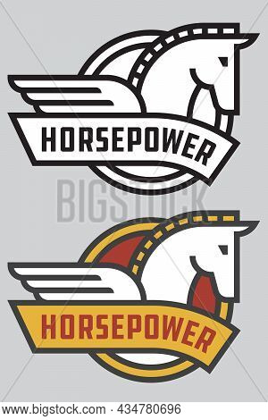 Horse Power Vector Badge Or Logo. Cute Vector Illustration Of Stylized, Bold Outline Horse With Wing