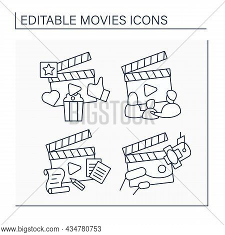 Movies Line Icons Set. Family Film, Plot And Scene. Entertainment Concept. Isolated Vector Illustrat