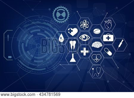 Medical Background. Health Care Icon Pattern, Medical Innovation Concept Banner. Vector Graphics