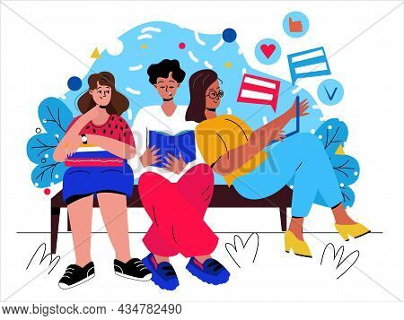 A Group Of Friends Is Sitting On A Bench In The Park, Spending Time Together. Men And Women In The P