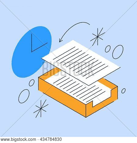 Paperwork Database Storage Isometric Vector Illustration. Keeping Archive Organizing With Paper Docu