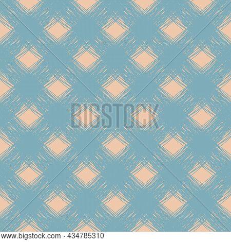 Diagonal Scrim Linen Weave Texture Vector Pattern. Seamless Duotone Blue Pink Woven Yarn Effect Back