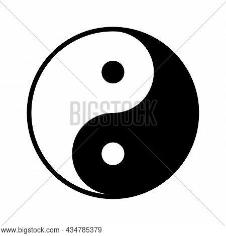 Yin Yang Symbol. Black Symbol Of Harmony And Balance. Religion Symbol Of Taoism. Vector Illustration
