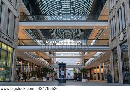 Berlin, Germany - August 28 2017; Mall Of Berlin In City With Vaulted Glass Ceiling And Passageway L