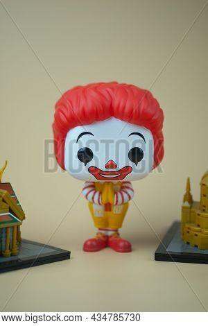 Bangkok, Thailand - September 20, 2021 : Cute Figurine Of Ronald Mcdonald\'s With Wai Pose. Thailand