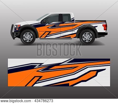 Truck And Cargo Van Wrap Vector, Car Decal Wrap Design. Graphic Abstract Stripe Designs For Vehicle,