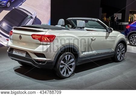Volkswagen T-roc Cabrio Car Showcased At The Autosalon 2020 Motor Show. Brussels, Belgium - January