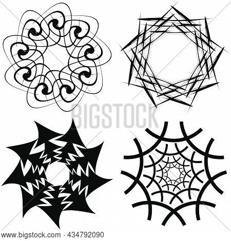 Abstract Circular Drawing. Amorphous, Nonfigurative Artistic Element, Shape. Swirl, Twirl, Whorl, Vo