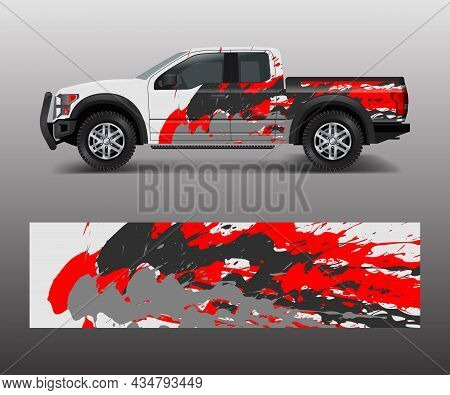 Pickup Truck Graphic Vector. Abstract Shape With Grunge Design For Vehicle Vinyl Wrap