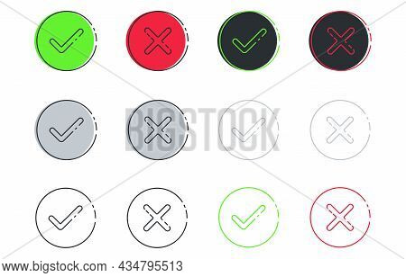 Check And Cross Marks Icon Set In Line Art Style. Green, Monochrome Tick And Cross. Yes Or No Accept