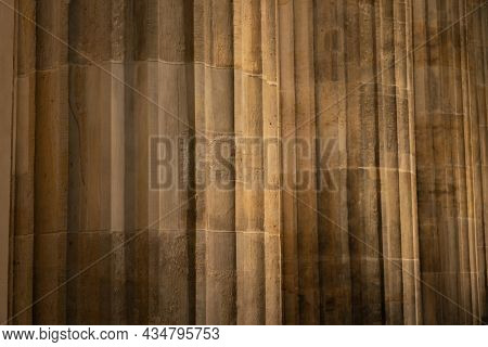 Background Or Conceptual Texture And Fluting Of Stone  Pillar Of Neo-classical European Building Pil