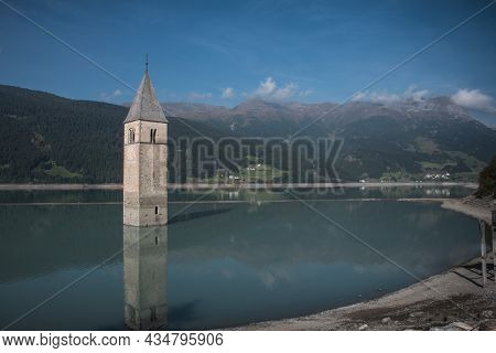 Monument Church Tower In The Water - Graun Italy South Tyrol