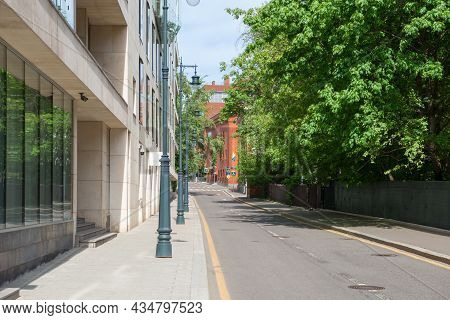 Moscow, Russia - May 23, 2021: Empty Korobeynikov Lane. There Are No Cars On The Highway, No People
