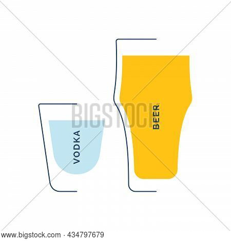 Vodka And Beer Glass In Minimalist Linear Style. Contour Of Glassware On Left Side In Form Of Fine B