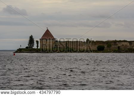 View Of The Royal Watchtower. Oreshek Fortress. Shlisselburg Fortress Near The St. Petersburg, Russi