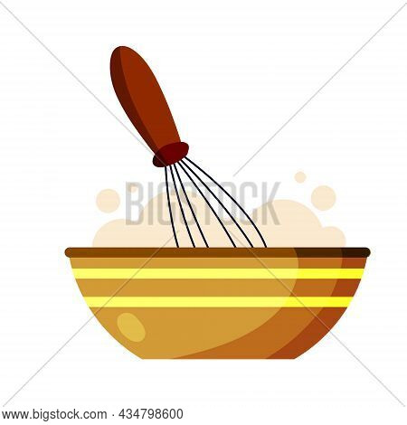 Whisk For Cooking. Whipping Up Food. Kitchen Utensils. Tool For Blend Ingredient In Bowl Or Plate. P