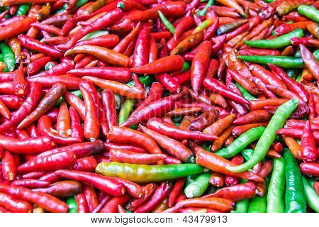 Fresh Spicy Chili Pepper At Market In Bangkok.