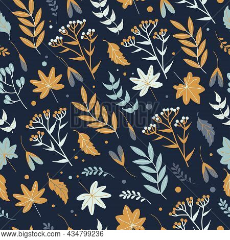 Seamless Autumn Pattern With Leaves, Herbs And Flowers In Earthy Tones On A Dark Background, Flat St