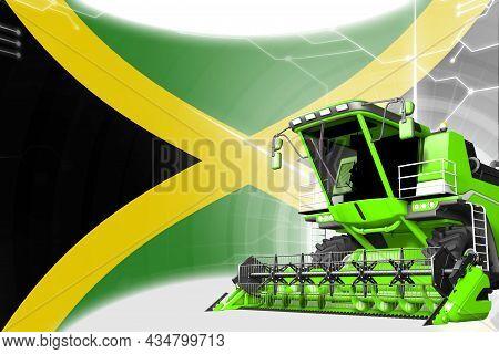 Digital Industrial 3d Illustration Of Green Advanced Wheat Combine Harvester On Jamaica Flag - Agric