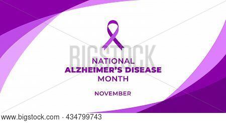 National Alzheimers Disease Month. Vector Web Banner, Background, Poster, Card For Social Media, Net