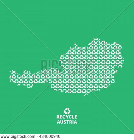 Austria Map Made From Recycling Symbol. Environmental Concept