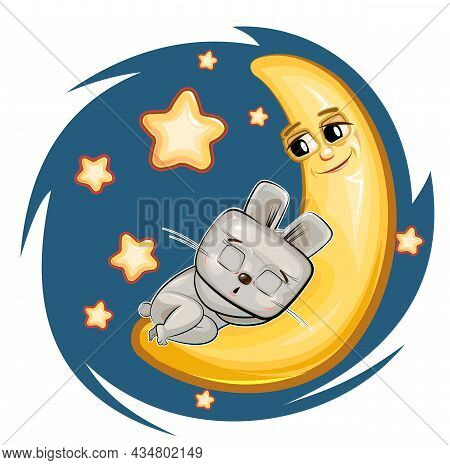 Kid Hare Sleeps On The Moon. Dreaming A Dream. Childrens Illustration. Funny Night Sky. The Baby Ani