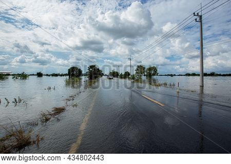 The Flooded Rural Roads Of Thailand Due To The Rainstorm Tien Mu Swept Through Thailand And Brought