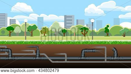 Pipeline For Various Purposes. Engineering City Structures. Underground Part Of System. Illustration