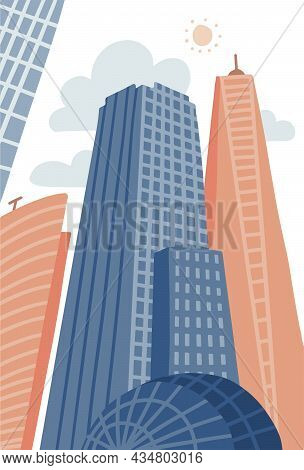 Cartoon Modern City In Flat Hand Drawn Style. Urban Cityscape With Skyscrapers, Urban Property. Vect