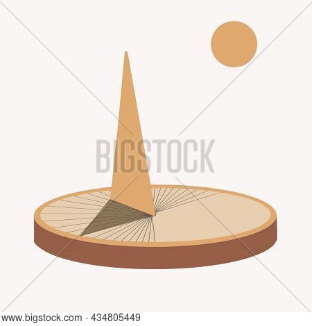 Sundial Clock Icon, Flat Style Dial And Hand For Measuring Time In Antiquity Vector Illustration For