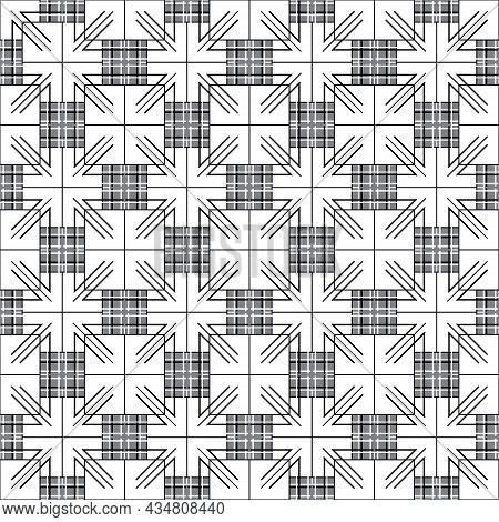 Beautiful Checkered Background, Intersection Of Squares And Lines.seamless Geometric Monochrome Patt