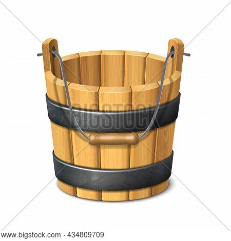 3d Realistic Vector Icon. Dairy Products. Wooden Rustic Bucket. Isolated On White Background.