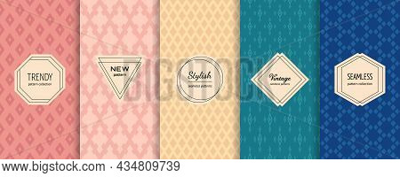 Vector Seamless Patterns. Collection Of Colorful Background Swatches With Elegant Minimal Labels. Ar
