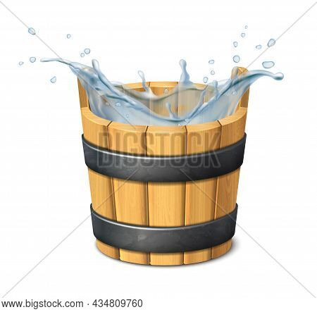 3d Realistic Vector Icon. Water. Water Splash. Wooden Rustic Bucket. Isolated On White Background.