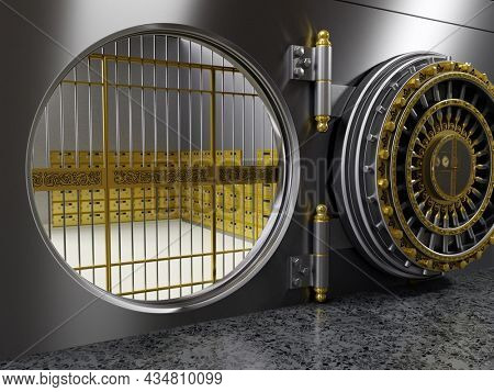 3D rendering of bank vault with safe deposit boxes