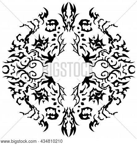 Nightmare Fragments Decorative Black Design Element, Vector Illustration, Vertictal, Isolated