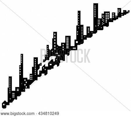 Skyline City Diagonal Silhouette Outline Black, Vector Illustration, Horizontal, Over White, Isolate