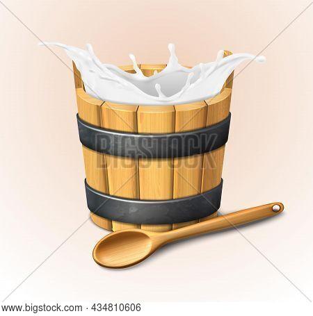 3d Realistic Vector Icon. Wooden Rustic Bucket. Milk Splash. Natural Yogurt. Wooden Spoon.