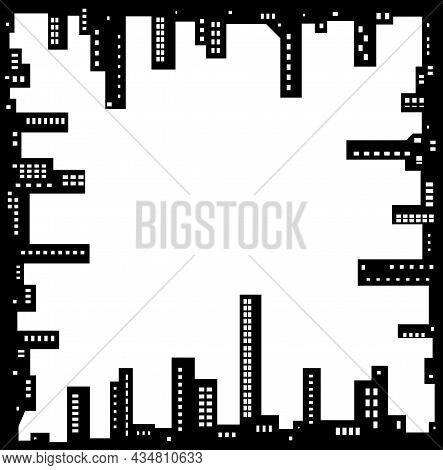 Skyline City Square Frame Edges Silhouette Outline Black, Vector Illustration, Horizontal, Over Whit
