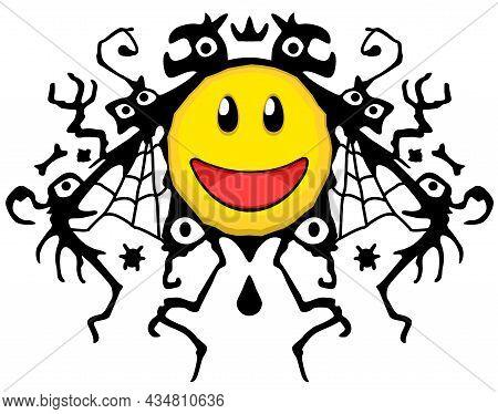 Smile Face Deceptive Scary Shadow Underneath, Cartoon Color Vector Illustration Design Element, Hori